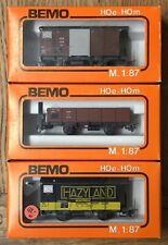 Bemo H0m Lot of 3 MOB Goods Wagons, Boxed