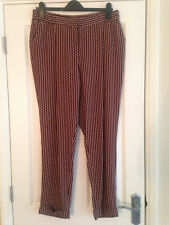 BNWT NEXT Ladies Black Red Brown Print Trousers 14 Reg Leg 28""