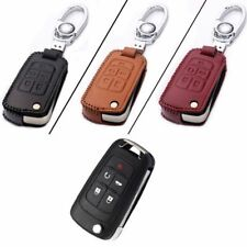Genuine Leather 5 Button Remote Key Bag Case Fob Holder Chain For Buick Series D