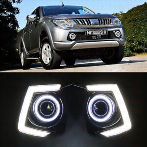 Exact Fit Mitsubishi L200 Triton 2015-up LED DRL Daytime Fog Lamps+angel eye Kit