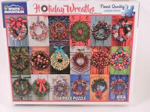 White Mountain Holiday Wreaths 550 Piece Jigsaw Puzzle 18 x 24 Alison Lee