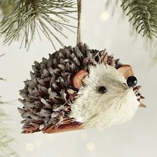Hedgehog, Porcupine Ornament, New, Natural, Sisal, Frosted, Sparkles