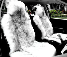 1piece White with Black Tip Australian Sheep Skin Car Long Wool Front Seat Cover