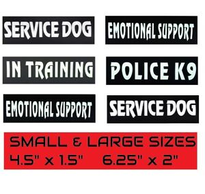Reflective SERVICE DOG Patches, IN TRAINING, DO NOT PET, EMOTIONAL SUPPORT