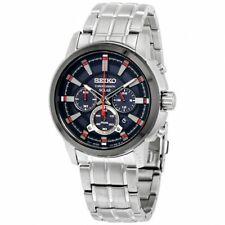 Seiko Men's SSC389 Solar Chronograph Analog Display Japanese Quartz Silver Watch