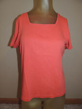 Womens Casual Corner Annex Size Large Coral Salmon Short Sleeved Shirt Top