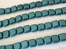 25 6x6x3mm CzechMates Two Hole Tile Beads: Pearl Coat - Teal