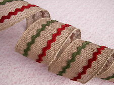 Christmas Ribbon, Burlap with Red & Green Trim,2 1/2 In  Wide,Wired Edge,3 YARDS