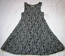 Free People Womens Dress XS Black/Gray Lace Dress With Black Underlay Skater NWT