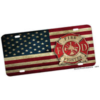 Firefighter American Flag Centered Maltese Cross Design Aluminum License Plate