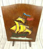 Antique Hand Painted Wooden Fire Screen Guard Ship Boat Art Deco 65cm Tall