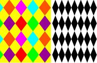 Mono Multi Rainbow Harlequin Diamond Clown Lycra Print 4 Way Spandex Fabric