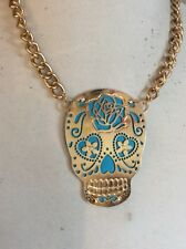 Skull Curb Frontal Necklace Gold Bh1 $50 Betsey Johnson Photo Etch Blue Flower