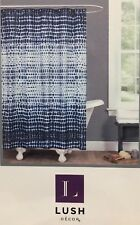 """New Lush Decor Fabric Shower Curtain 72""""X72 Arney Tie Dye ~ Navy Blue and White"""