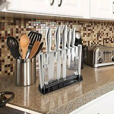 Professional Chef Kitchen Knife Set 6 Pc Stainless Steel Knives Acrylic Stand