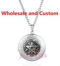 Pentagram Wiccan Cabochon silver Glass Chain Locket Pendant Necklace #SW-1