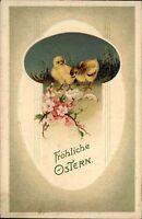 Frohe Ostern 1916 Prägekarte Blumen Ostergruss mit kleinen Küken Happy Easter