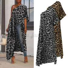 UK Womens One Shoulder Blouse Maxi Tops Leopard Beach Holiday Sexy Shirt Tunic