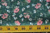 By 1/2 Yd, Vintage, Pink Green Tan & Blue Floral on Dark-Green Quilt Cotton,P289