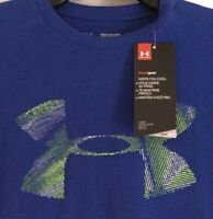 NWT UNDER ARMOUR BOYS ROYAL BLUE BIG LOGO TEE SIZE YOUTH SMALL MSRP $19.99