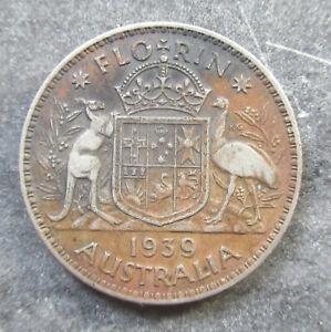 Australia 1939 Florin 2 Shilling Silver Coin  Harder Date