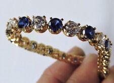 NOS Gilt Sterling Silver Faux Sapphire & Faux Diamond Tennis Bracelet #Fash84