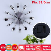 Home Decoration Cutlery Kitchen Utensil Spoon Fork Clock Wall Clock Sliver