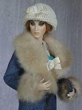 "Allfordoll Mink FUR wool COAT for 16"" Tonner Tyler Ellowyne Ficon Sybarite Dolls"