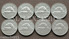 CANADA 1977 TO 1983 SET OF 5 CENTS (8 COINS) NICKEL CIRCULATED