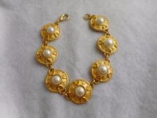 """& Crescent Moon Micro Bead 10.5""""Link Bracelet Nos Vtg Matte Gold Pl Faux Pearl"""