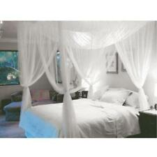 4 Corner Post Bed Canopy Mosquito Net Queen King Size Netting Bedding White.PK