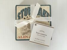 POTTERY BARN BEER LABELS COASTERS SET OF 4 NEW WITH TAGS SOLD OUT AT PB RARE