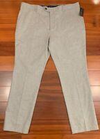 Men's NWT Tasso Elba Dress Pant Slacks 38x32 gray flat front gray 100% cotton