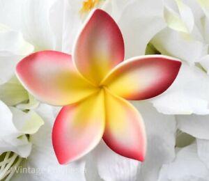 Hawaiian/Island Plumeria Flower Hair Accessories w/Adjustable Stem