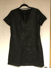 Zara Trafaluc Black Faux Leather V Neck S/S Tea Dress Sz L