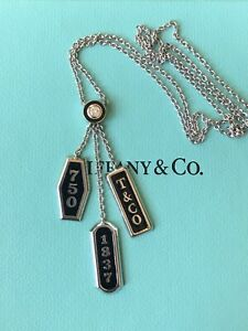 TIFFANY & CO. 3 TAG NECKLACE 18k WHITE GOLD W DIAMOND AND ENAMEL ACCENT 10g Rare