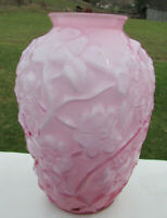 "Fenton Dusty Rose Overlay  DOGWOOD Vase 7.25""H  MINT**NIB"