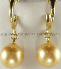 Pearl Round Top Grade Earrings 12mm Gold South Sea Shell