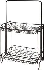 Gitter Regal schwarz - 2 Ablagen - Design Standregal Metall Badregal Küchenregal