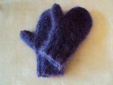 Fausthandschuhe handgestrickt, violett, Mohair Mischgarn flauschig