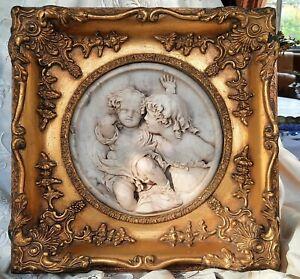 Lovely Old Ornate Neoclassical Gilt Framed Marble Plaque 2 Cherubs Putti Childre
