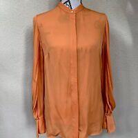 Phillip Lim 3.1 Size 4 Mandarin Orange Long Sleeve Button Down Silk Blouse Work