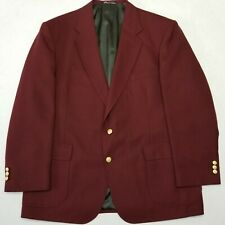 Stafford Blazer - Maroon - Polyester & Worsted Wool Blend - Golden Buttons - 46R