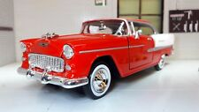 More details for 1:24 chevy bel air 1955 chevrolet hard top coupe motormax car 73229 red bnib