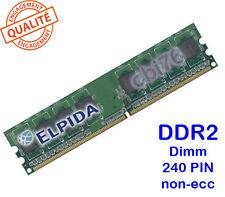 Mémoire 512MO DDR2 PC2-5300U ELPIDA 240PIN 667MHZ 1Rx8 Dimm memory POUR PC