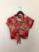 Ragtime Women's Tropical Top Size Large Button Down Cropped Tie Hawaiian Shirt
