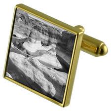 Desert Grand Canyon Gold-Tone Cufflinks Crystal Tie Clip Gift Set