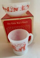 Fire King Story Gift Box Cup And Bowl Toddler 1947 Vintage Mid Century Red White