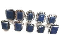 Wholesale Lot !! 20 Pcs. Lapis Lazuli Gemstone 925 Sterling Silver Plated Ring