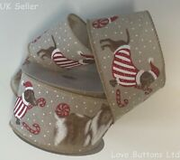 DACHSHUND COLLIE SAUSAGE DOG CHRISTMAS RIBBON WIRED HESSIAN BURLAP JUTE 10m ROLL